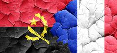 Angola flag with France flag on a grunge cracked wall - stock illustration