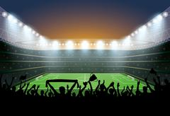 Excited crowd of people at a soccer stadium. Football stadium. Stock Illustration
