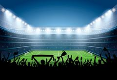 Excited crowd of people at a soccer stadium. Football stadium. - stock illustration