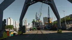Old crane in harbor Rotterdam Stock Footage