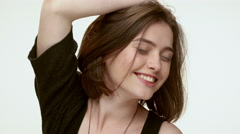 Cute brunette girl rejoycing. Close up Stock Footage