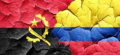 Angola flag with Colombia flag on a grunge cracked wall - stock illustration