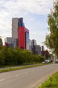 City street with modern houses Stock Photos