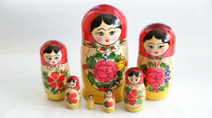 Traditional Russian matryoshka dolls. Defocus Stock Footage
