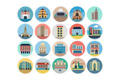Buildings Colored Icons Pack Stock Illustration