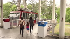 Summit skyride ropeway at Stone Mountain National Park - stock footage