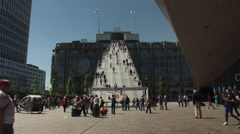 Stationsplein and staircase in Rotterdam, timelapse Stock Footage