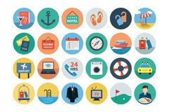 Hotel and Restaurant Flat Icons Stock Illustration