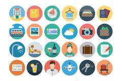 Hotel and Restaurant Flat Colored Icons - stock illustration