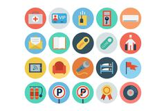 Hotel and Restaurant Flat Colored Vector Icons Pack Stock Illustration