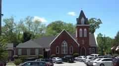 Small church in the city of Senoia Georgia Stock Footage