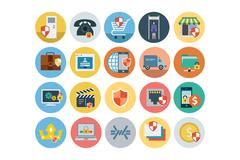 Security Flat Colored Icons Collection - stock illustration