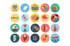 Love and Romance Flat Vector Colored Icons Set Stock Illustration