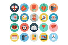 Love and Romance Flat Vector Colored Icons - stock illustration