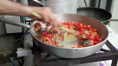 Preparation of Lobster with tomatoes in a pan for Italian pasta Stock Footage