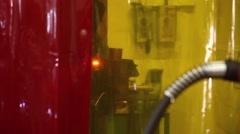 Worker welding steel with mig welder machine, slider shot Stock Footage