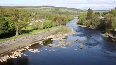 Pitlochry Scotland UK River Tummel and fish ladder pan Stock Footage
