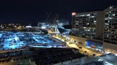CNN Headquarter Atlanta - aerial view at night Stock Footage