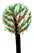 An apple tree - stock illustration