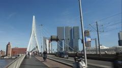 Traffic crossing Erasmus bridge Stock Footage