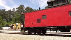 Old train and Western city at Stone Mountain National Park - stock footage