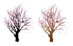 Cherry with blossom - stock illustration