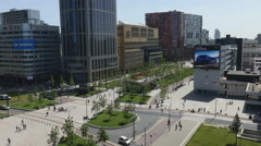 Top view of modern square in sunny Rotterdam Stock Footage
