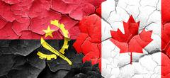 Angola flag with Canada flag on a grunge cracked wall - stock illustration