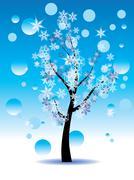 Decorative Winter Tree - stock illustration