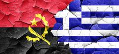 Angola flag with Greece flag on a grunge cracked wall - stock illustration