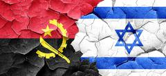 Angola flag with Israel flag on a grunge cracked wall - stock illustration