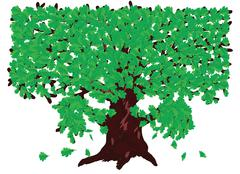 Oak with green leaves Stock Illustration