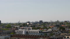 Top view over Rotterdam with cranes on the horizon. Stock Footage