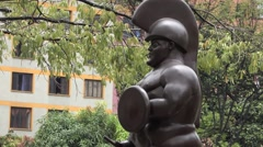 Roman Soldier statue in Plaza Botero, Medellin - stock footage