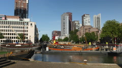Old port in heart of Rotterdam Stock Footage