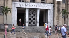 Entrance of the Museo de Antioquia in Medellin Stock Footage