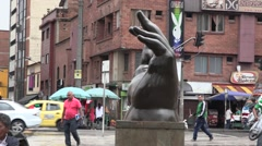 The hand statue in Plaza Botero, Medellin (1) Stock Footage