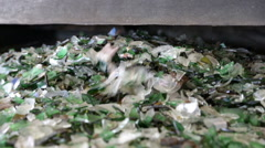 Glass waste in recycling facility. Glass particles in a machine Stock Footage