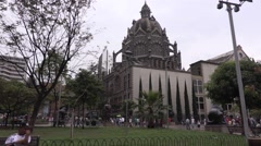 Plaza Botero with Cathedral Metropolitana de Medellin in the background Stock Footage