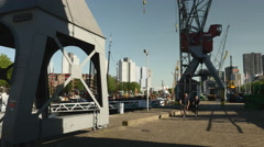 Old harbor with machinery in Rotterdam Stock Footage