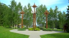 Three wooden crosses Stock Footage