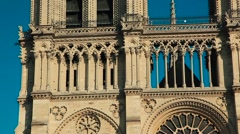 Сathedral Notre-Dame de Paris in blue sky on sunset Stock Footage