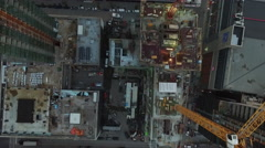 Top view of skyscapers under construction - stock footage