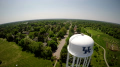 Aerial of Water Tower in The Kentucky Arboretum Stock Footage