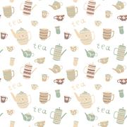 Pattern with teapot and cups. Stock Illustration
