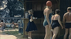 Budapest 1960s: people buying a drink at Palatinus Swimming Pool Stock Footage