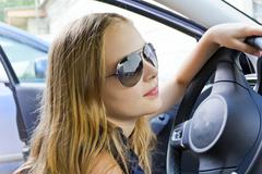 Cute girl in sunglass Stock Photos