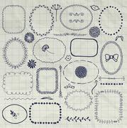 Vector Decorative Pen Drawing Borders, Frames, Elements - stock illustration