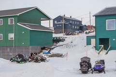 Residental houses in Longyearbyen, Svalbard. Norway Stock Photos
