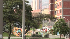 Left pan to the entrance of The House of Memory in Medellin Stock Footage